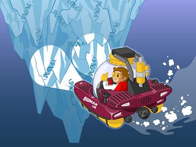 Bioman submarine laboratory superhero dna iceberg scientist science submarine vector design adventure mascot character design illustration branding