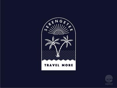 Serengetee Coconut Tree beach sunrise palm beach coconut tree hand drawing tshirt design travelling doodle line art identity icon vector design adventure illustration branding