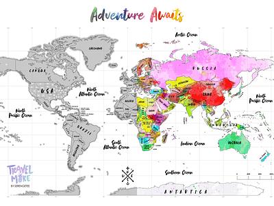 Watercolor Scratch Map cartography travel scratch map world map map design watercolor vector design adventure branding