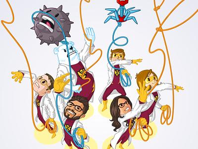 Bioman - Catching Viruses virus superheroes scientists science mascot laboratory design vector character design illustration branding
