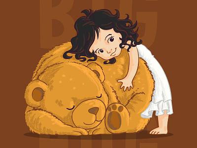 Big Hug branding love hug wavy hair baby teddy bear bear children children book illustration kid little girl cartoon character vector character design illustration