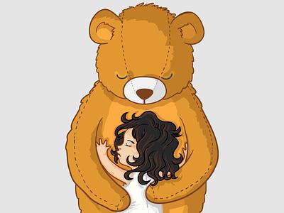 Big Love mascot wavy hair concept love hug teddy bear bear children children book illustration baby kid little girl cartoon character branding design vector character design illustration