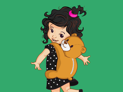 Look at My Cute Bag polka dots wavy hair teddy bear love girl little girl kid hug concept children book illustration children cartoon character bear baby vector mascot character design design branding illustration