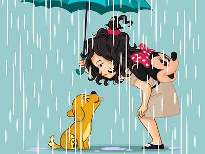 Rainy Day kindness cute adorable dog baby love wavy hair vector rainy day concept puppy children book illustration children kid little girl girl mascot character design design illustration branding