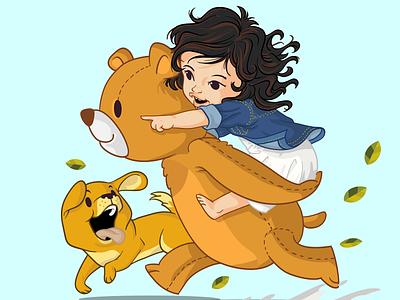 There Teddy Bear concept friendship cute running dog puppy teddy bear bear wavy hair children book illustration children kid baby little girl vector mascot character design design illustration branding