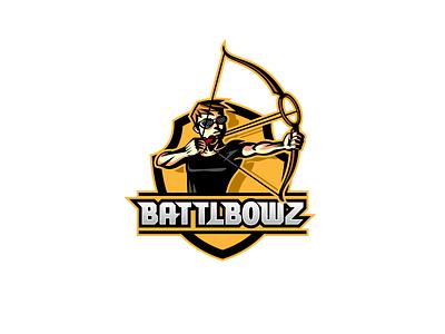BattleBowz logo character design bow logo mascot game sports logo vector design illustration identity branding logo design