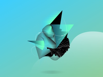 Fractal Polygon fractal gradient triangles lines shapes illustration