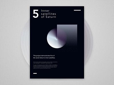 5 Inner satellites of Saturn saturn moon universe circle shapes digital gradient lines illustration