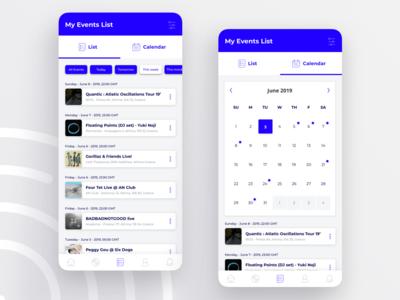Mobile UI view - List & Calendar