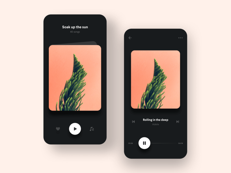 Simple Music Playlist App songs details minimal player cards music unsplash pause play icons ux mobile app ui