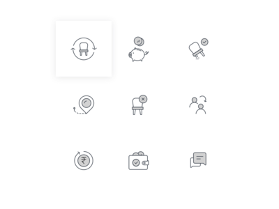 Icons for New website refund transfer damage location message chat wallet savings money swap chair icon