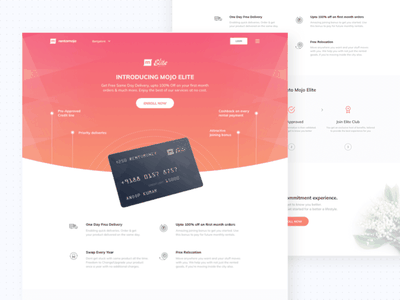 Mojo Elite Landing Page product web icons document process club ux ui gradient credit card landing page