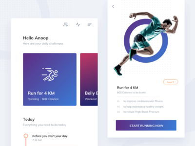 Fitness coach gym icons fitness health photo cta timeline cards ux ui app running