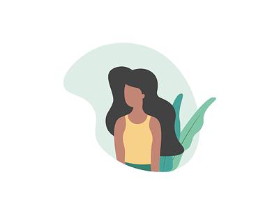 Girl Illustration yellow green plant woman lady face hair illo illustration girl