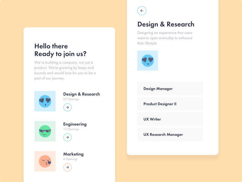 Careers Page awe kiss cool emoticon smiley face ios android icon dribbble ux typography jobs careers emoji interaction mobile illustration app ui