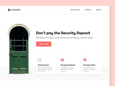 Landing Page Header pattern design unsplash desktop web money loan user experience interaction interface security deposit icons cards header landing page real estate housing home finance