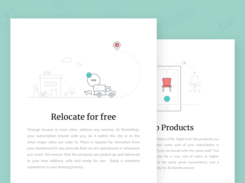 Illustrations for Rentomojo Benefits e-commerce bed location email swap ui mobile house bike smartphone icons furniture chair delivery truck free delivery relocation serif cards illustration