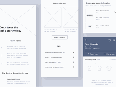 Wireframes catalogue content ui ux list rent icon tshirt shirt clothing subscription faq how it works wireframe mobile android pricing plan sections closet wardrobe