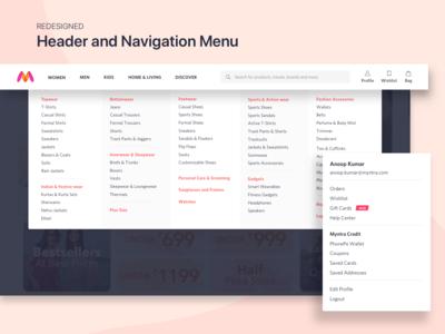 Redesigned Header and Navigation Menu for Myntra