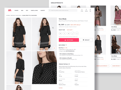 Redesigned Product Page for Myntra model dress interaction shopping add to bag redesign clothes search pdp ecommerce product page fashion website aesthetics desktop ux ui