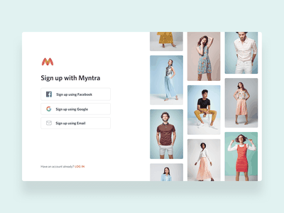 Sign up Redesign Concept For Myntra ux desktop myntra concept ecommerce fashion imagery ui redesign website social icons log in sign up