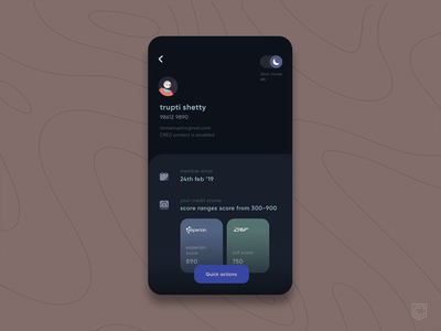 CRED 2.0 | User Profile Redesign info bottomsheet icons transition cred app animation interaction user user experience switch lightmode darkmode card ux ui illustration profile