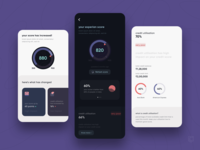 CRED 2.0 | Credit scrore dark theme refresh educate bottom sheet stack app mobile horizontal carousel money fintech finance score meter icons cards pie graph tags bar progress credit score