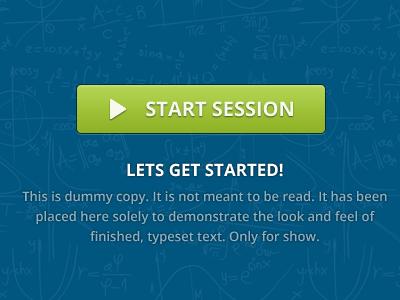 Start session button button blue green math start