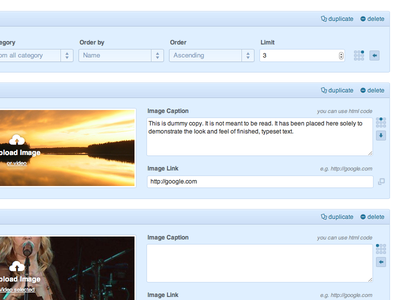Nemus Slider wordpress admin slider plugin blue clean minimal interface ui box