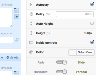 Slider Options interface toggle clean minimal wordpress entypo icons settings options admin