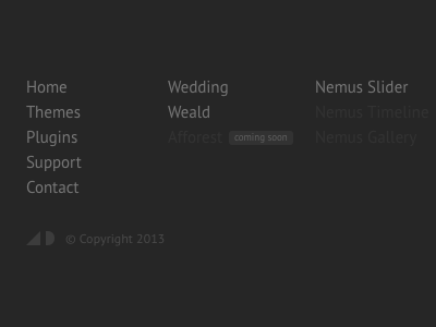Footer area for my new personal site footer gray pt sans minimal flat clean css3 navigation menu list
