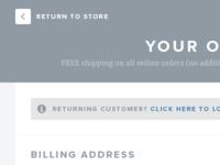 Checkout page checkout order shop woo commerce clean flat blue montserrat merriweather