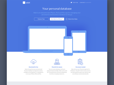 Landing page for application landing blue devices clean flat streamline hero lato icons header