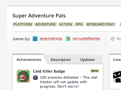 Kongregate - Game details, with real tabs