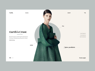 Norb interface typography services promo photo landing page web design product flat homepage grid ux ui themedesign minimal clean white fashion wear