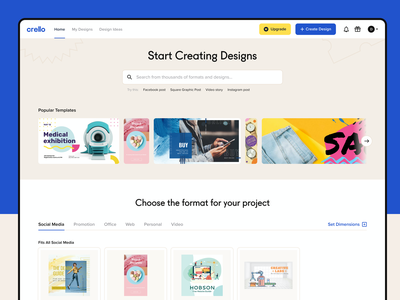 Crello homepage for authorized users minimal graphic bauhaus interface page digital design app ux web ui