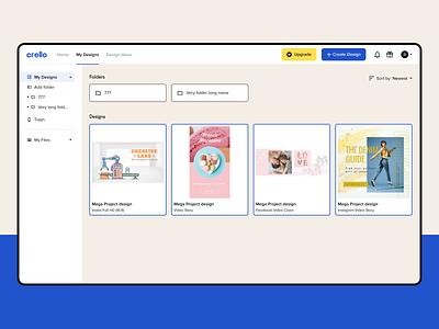 Crello – File Management for Social Media Designs social media files folder minimal interface digital design app ux web ui