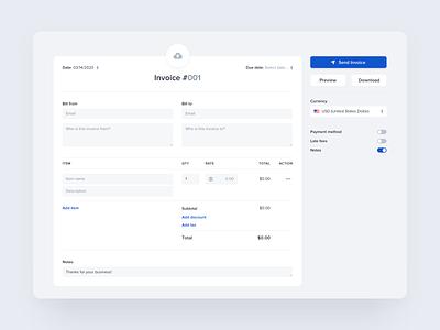 Invoice builder – desktop form business template charge fintech minimal generator banking form finance interface app design web ui payment pay