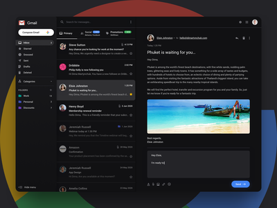 Gmail redesign concept | Dark mode messenger message chat inbox mailbox mail email google interface minimal app design ux ui