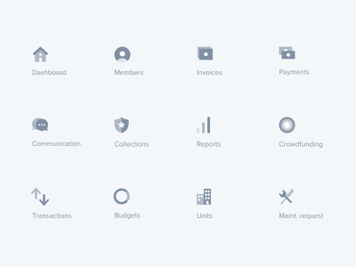 Menu icons – Finance web application icon identity illustration illustrator interface web branding app ui