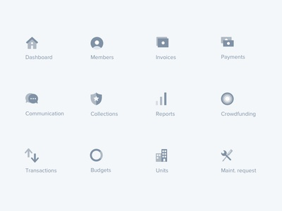Menu icons – Finance web application