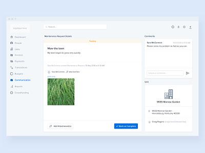 Maintenance Request Details - Web app application web interface finance ux ui app product