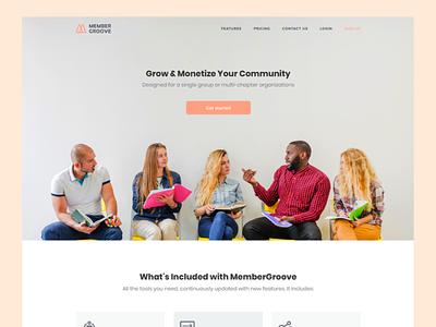 Membergrооve - Homepage landing sketch design site ui ux web app digital minimal page
