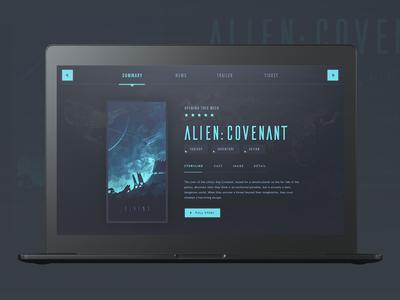 Movie Summary alien blue dark ux ui web sci-fi card navigation gradient movie