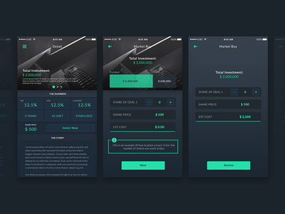 Investment App value trading invest money ios investment interface theme dark app mobile