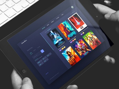Movies -Search Concept search page movies landing widget card filter favorites design concept
