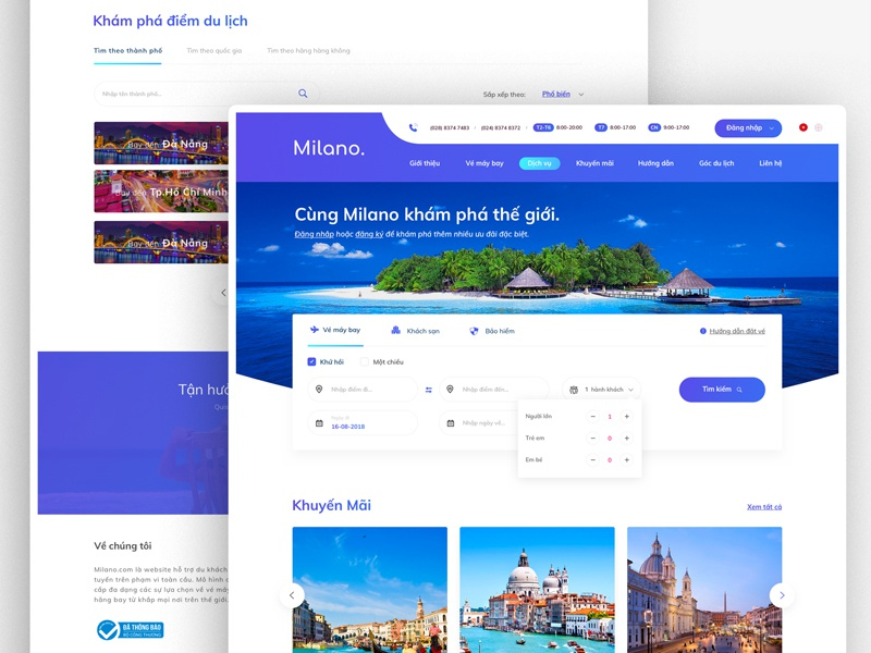 Milano -Tour Booking Website website web ux ui travel redesign modern graphic flat design clean booking