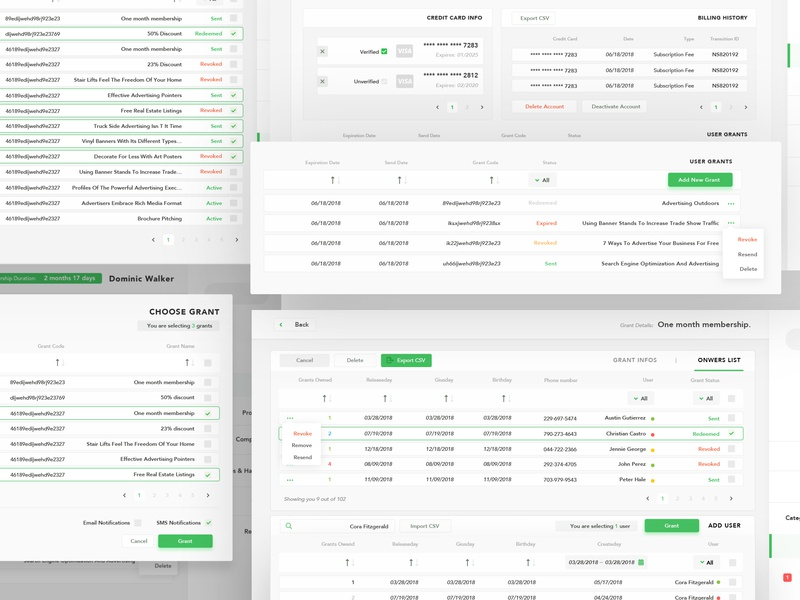 Grants Management Dashboard zeplin product management system webapp management manage list info card info ecommence dashboard coupon admin sketch