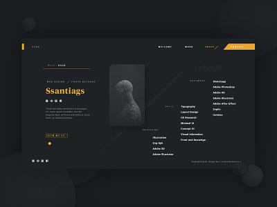 Portfolio-DemoSc-2 black dark shape designer visual site company about profile concept web portfolio personal branding design