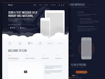 Encrypted Messaging App private company landing page portfolio design startup landing page business landing page portfolio dark theme web page app landing page mobile landing mobile messaging app message encrypted
